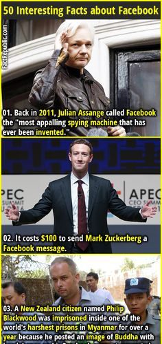 """1. Back in 2011, Julian Assange called Facebook the """"most appalling spying machine that has ever been invented."""" 2. It costs $100 to send Mark Zuckerberg a Facebook message."""