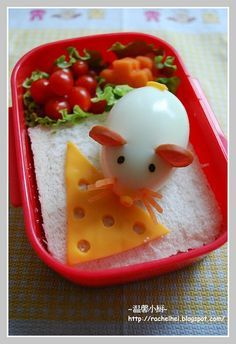 I don't know that my kids would eat this, but it's cute to look at!  The last time we tried hard boiled eggs, C called them cheese!