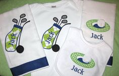Monogrammed Bodysuit, Bib, and 2 Burp Cloths - Golf Gift Set for Baby Boy - Personalized Embroidered