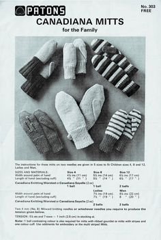 Items similar to PDF Canadiana Mitts & Gloves Knitting Pattern Patons 303 BEEHIVE Mittens Family Gloves Classic Traditional Variety Retro on Etsy Baby Knitting Patterns, Crochet Patterns, Mittens Pattern, Knitted Gloves, Easy Knitting, Vintage Knitting, Vintage Patterns, Knitting Projects, 1960s