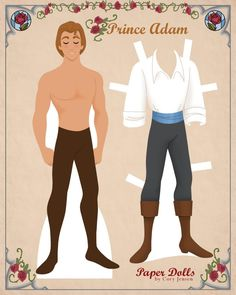 prince, 'beauty and the beast' paper doll 1 | paper dolls by cory * 1500 free paper dolls for other Pinterest paper doll pals at Arielle Gabriel's The International Paper Doll Society *