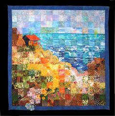"Seaside Serenity, 25"" x 25"" by Carol Bridges"