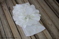 White Flower Headband Baby Flower Headband First by BySophiaBaby