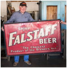 Ray picked up this great vintage Falstaff beer sign for only $650. #Vogt #Auction #vintage #beer #advertising #sold