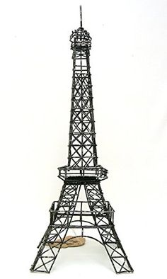 "Eiffel Tower Paris, France, 14"" Black Metal Wire Statue M..."