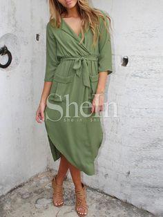 Vestido manga larga split -verde 13.79