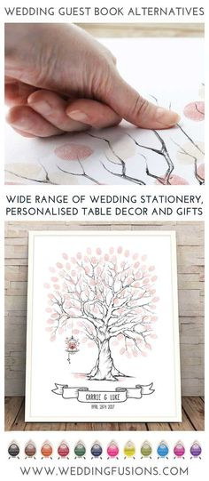 Finger print tree with bird cage - a wedding guest book alternative that makes a beautiful memento for your big day, a beautiful & unique keepsake to cherish forever.