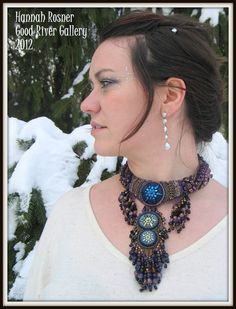 Bead Embroidery Purple Bronze and Black Beaded by HannahRachel, $1500.00