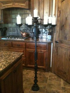 Halloween candelabra DIY- made from 3 lamps 1 chandelier and PVC pipe with hot glue for candles Casa Halloween, Halloween Ball, Halloween Masquerade, Halloween Christmas, Halloween Themes, Halloween Decorations, Halloween 2014, Masquerade Party, Halloween Crafts
