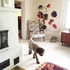 The couple's dog Penni wanders through the living room, decorated with carpets from a flea market in Athens, an antique chair, and a contemporary sculpture over the fireplace, which Koski says his husband hates.