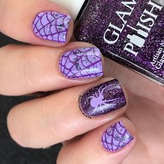 WEBSTA @ dsetterfield74 - Here's my mani for the birthday girl, Heather @hottmama_of4 .. She likes purple and glitter and Halloween, so what mama loves, mama gets! Hope you like it sweet girl - and happy birthday!..DARK PURPLE  @glampolish_ Magica de Spel
