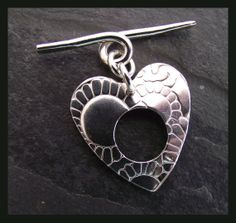 Sterling Silver Hand Forged Heart Toggle Clasp  choice by abyjem, £12.00