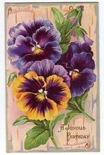 062513FP Vintage Pansy Pansies Birthday Postcard 1912