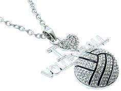 I Heart Volleyball Necklace  Bling Bling by GloSpaBoutique on Etsy, $11.00