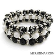 REBEL Stack in White Turquoise | Lava | Agate | Dragons. Yoga Bracelets / Men's & Women's Handmade Luxury / Healing Energy / Beaded Jewelry // Handmade Luxury