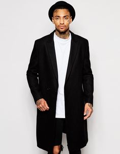 ASOS Double Breasted Wool Mix Overcoat In Black