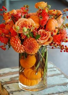 Autumn Centerpiece with Little Pumpkins