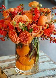 Autumn Centerpiece with Little Pumpkins