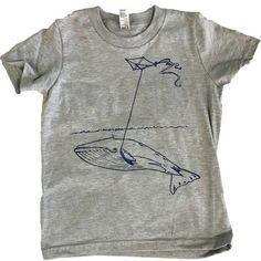Kids heather grey whale with kite tee #AnimalInstincts