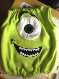 I think Cole needs this. Would go perfectly with his stuffed Sully!  Makin' it: Mike Wazowski Costume Instructions.