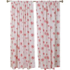 The Pillow Collection Dandelion White Coral Rod Pocket Curtain Panels