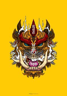 Bajra Face of Wind. Sketching, inking and coloring. All done using Procreate. Bajra Face of Wind Oni Samurai, Samurai Tattoo, Japanese Demon Mask, Samurai Artwork, Sketch Tattoo Design, Black Anime Characters, Japanese Tattoo Art, Dark Art Drawings, Cyberpunk Art