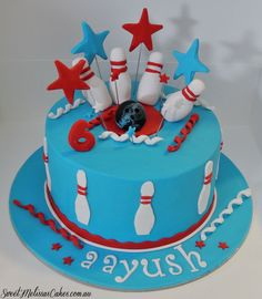 Ten Pin Bowling Cake Red and Blue