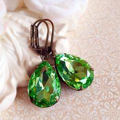 Green Victorian Earrings Peridot August by ParisienneGirl