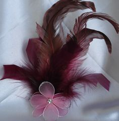 Burgundy Fuchsia Feather Fascinator by lovelygifts on Etsy, $22.00