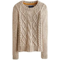 Oatmeal Marl Avelyn Womens Round Neck Cable Knit Jumper | Joules UK found on Polyvore