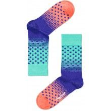Happy Socks Turquoise, Lilac and Coral Stripe & Spot design Ankle Socks
