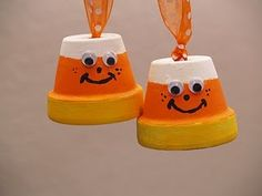 Candy Corn and Bat Halloween Ornaments adorable candy corn ornaments. Use small, clay pots and paint Holiday Crafts, Holiday Fun, Fun Crafts, Crafts For Kids, Daycare Crafts, Thanksgiving Crafts, Kids Diy, Holiday Decor, Clay Pot Projects