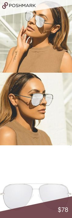 🆕 Silver Quay Australia x Desi Perkins High Key Don't miss out on all new limited edition sexy silver and smolderingly black fade, featuring a special #QUAYXDESI clear case and cleaning cloth. Get 'em before they're gone!    Width: 143mm. Height: 55mm. Nose Gap: 19mm.  ⭐️⭐️⭐️⭐️⭐️ Rating 💯 Shop with confidence  📦 Ship same day / next day 🛍 Bundle & save ⛔️ trades ⛔️ lowball offers Quay Australia Accessories Sunglasses