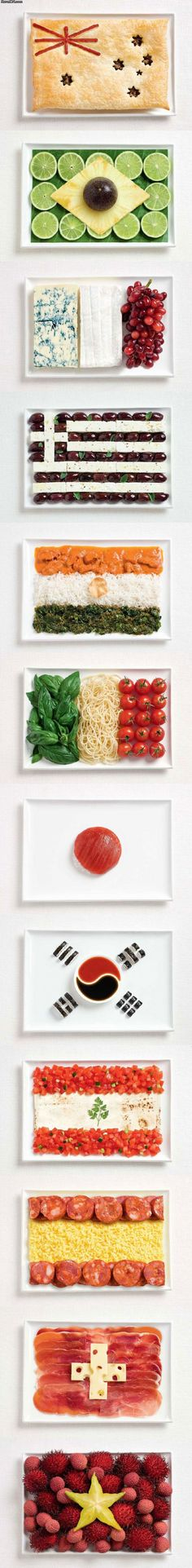 Food Flags using foods of the national cuisine! Amazing!   (Top to bottom: Australia (White Ensign), Brazil, France, Greece, Italy, India, Japan, South Korea, Lebanon, Spain, Switzerland, Vietnam)