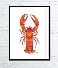 Nautical Print Printable Wall Art Lobster Print By DuneStudio | Beach House  Decor | Pinterest | Nautical Prints, Printable Wall Art And Lobster Art