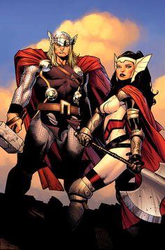 Thor & Sif Comic Art by Comic Artist Olivier Coipel #Comics #Illustration #Drawing