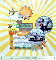 Summer Theme: This Summer I Plan To by Lyons Lyons Tangerine Scrapbook Paper Crafts, Diy Scrapbook, Scrapbook Pages, Paper Crafting, Scrapbook Sketches, Scrapbook Page Layouts, Scrapbooking Ideas, Vacation Scrapbook, Travel Themes