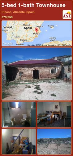 Townhouse for Sale in Pinoso, Alicante, Spain with 5 bedrooms, 1 bathroom - A Spanish Life Murcia, Valencia, Portugal, Alicante Spain, Open Fires, Large Bedroom, Small Storage, Small Patio, Maine House