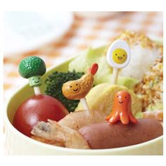 Fried Prawn, Boiled Egg, Octopus Wiener and Broccoli Bento Picks...great for adding some cute to your food.