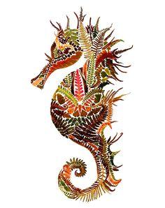 Pressed Fern Leaf Illustration I Helen Ahpornsiri I 2015 I Seahorse Art Floral, Seahorse Art, Seahorses, Art Et Nature, Art Du Collage, Leaf Illustration, Animal Illustrations, Motifs Animal, Beautiful Collage