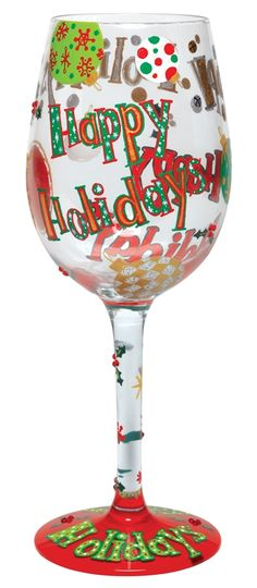 Happy Holidays Lolita Wine Glass
