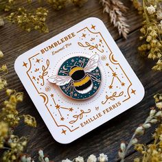Bumblebee Enamel Pin, Bee Badge, Bee Talisman Celestial Bee pin, by Emillie Ferris Little Presents, Bee Design, Otaku, Cool Pins, Pin And Patches, Stickers, Pin Badges, Lapel Pins, Pin Collection
