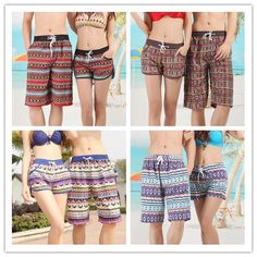 Summer Beach Style Shorts 2015 Pattern Printing Swimsuits Board Shorts Man Woman Casual Lovers Swimming trunks men shorts