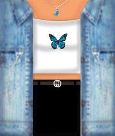 Roblox Shirt, Roblox Roblox, Butterfly Shirts, Blue Butterfly, Black Hair Roblox, Hello Kitty T Shirt, Free T Shirt Design, T Shirt Png, Roblox Gifts