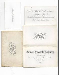 This is a Invitation to a Wedding or Event at the Tremont Street Methodist Episcopal Church in Boston Massachusetts on Wednesday 8 November 1871.  A Ceremony will take affect on Wednesday Evening, November 8th at 7:00, 1871  I believe Jamaica Plains is Jamaica Plain which is a Neighborhood in Boston, Massachusetts.   https://www.facebook.com/photo.php?fbid=1673404169376265&set=oa.1604225559610796&type=3&theater