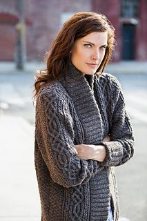 Opulent cables take center stage in this luscious oversized sweater coat. Knit pattern from Brooklyn Tweed Fall 2014.
