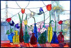 "Aanraku Glass Studios: ""Flowers & Vases"" 40"" x 22"" by Martha Tilmann"