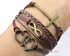 InfinityCrossLOVE & Heart Charm BraceletAntique by happygarden999, $5.99
