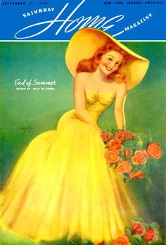 "Home Magazine - Wonder in yellow - Art by Billy DeVorss - Board ""Art - Billy DeVorss"" - Vintage Ephemera, Retro Vintage, Pin Up Posters, Calendar Girls, Yellow Art, Summer Design, Golden Girls, Pin Up Art, House And Home Magazine"