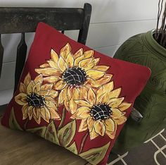 Red Sunflowers Pillow Gifts for Gardeners Mother's Day Red Pillows, Throw Pillows, Mixing Paint Colors, Sunflower Kitchen Decor, Red Sunflowers, Shabby Chic Pillows, Hand Painted Fabric, Sunflower Gifts, Memory Pillows
